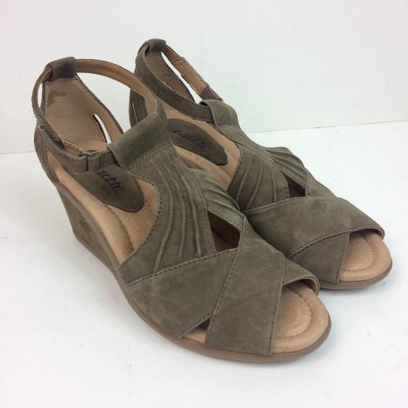 d05e6b3c82fa Earth Shoes - Earth Suede Peep Toe Wedge Sandals Curvet Size 6.5